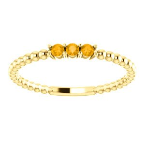Citrine Beaded Ring, 14k Yellow Gold, Size 6