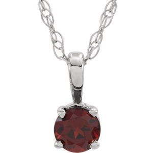 Children's Imitation Garnet 'January' Birthstone Sterling Silver Pendant Necklace, 14""