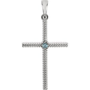 Swiss Blue Topaz Rope-Trim Cross Rhodium-Plated 14k White Gold Pendant (31.95x16.3MM)