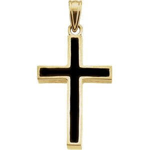 Black Epoxy Inlay Cross 18K Yellow Gold Pendant (30X20MM)