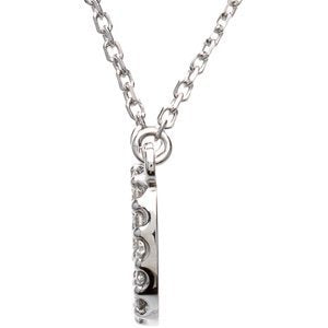 "14k White Gold Diamond Alphabet Letter O Necklace (1/6 Cttw, GH Color, l1 Clarity), 16.25"" to 18.50"""