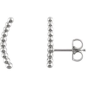Platinum Bead Trim Curving Ear Climbers