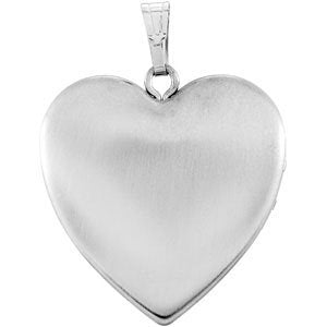 Inlaid Heart with Cross Sterling Silver Locket (25.23X23.67 MM)