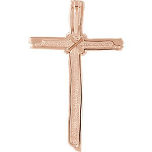 Woodgrain Cross Brushed 14k Rose Gold Pendant (50.75X32.25MM)