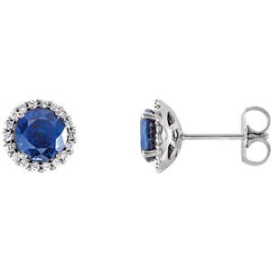 Chatham Created Blue Sapphire and Diamond Earrings, Rhodium-Plated 14k White Gold (.125 Ctw, G-H Color, I1 Clarity)