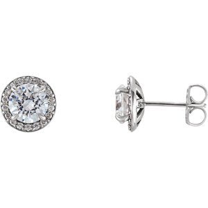 Platinum Diamond Halo-Style Earrings (4.6MM) (1 Ctw, G-H Color, I1 Clarity)