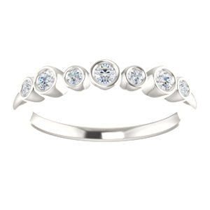 Diamond 7-Stone 3.25mm Ring, Sterling Silver (.08 Ctw, G-H Color, I1 Clarity)