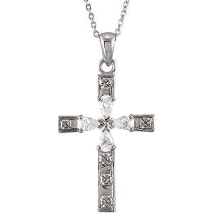 Sterling Silver Four Gospels of Love Crystal Cross Necklace 18""
