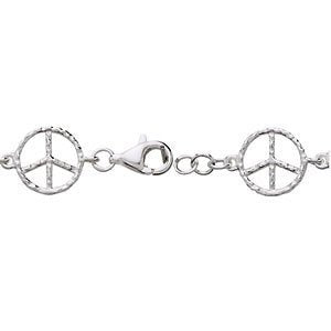 Sterling Silver Peace Sign Bracelet, 7""