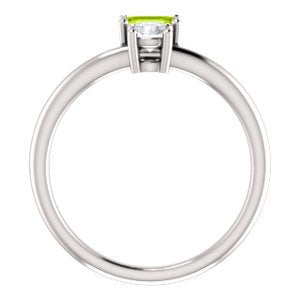 Platinum Peridot and Sapphire Two-Stone Ring, Size 7