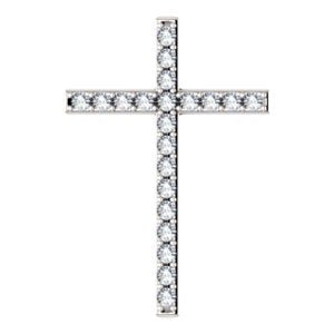 Diamond Cross Rhodium-Plated 14k White Gold Pendant (1 Ctw, G-H Color, I1 Clarity)