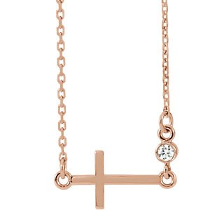 "Diamond Sideways Cross 14k Rose Gold Necklace , 16""-18"" (.03 Ct, G-H Color, I1 Clarity)"