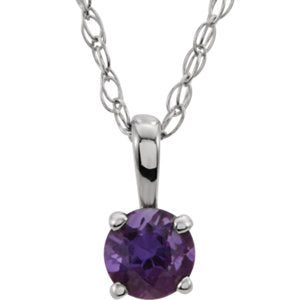 Children's Amethyst Solitaire Rhodium Plate 14k White Gold Pendant Necklace, 14""