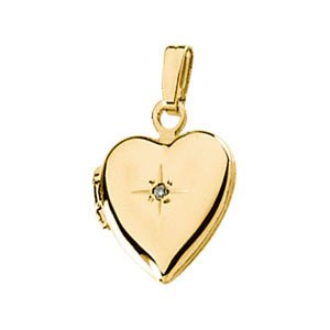 Childrens 14k Yellow Gold Diamond Heart Locket (.005 Ct, GI Color, I3 Clarity)