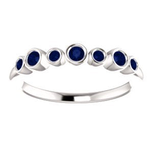 Blue Sapphire 7-Stone 3.25mm Ring, Rhodium-Plated 14k White Gold