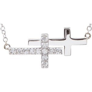 "Diamond Double Sideways Cross Rhodium-Plated 14k White Gold Bracelet, Adjustable 6-8"" (.20 Ctw, HIJ Color, I3 Clarity)"