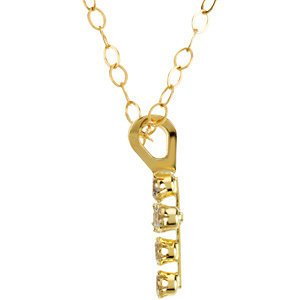 "Round Cubic Zirconia Youth Cross 14k Yellow Gold Pendant Necklace, 15"" (13.00X06.00 MM)"