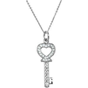 Sterling Silver Key of Love for Daughter Pendant Necklace 18""