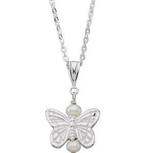 "Girl's Sterling Silver White Freshwater Cultured Pearl Butterfly Pendant Necklace, 16"" (3-3.25 MM)"