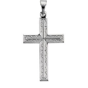 14k White Gold or 14k Yellow Gold Cross Pendant with Design