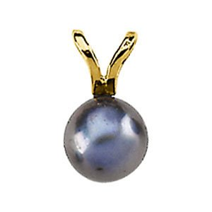 14k White Gold Black Akoya Cultured Pearl Pendant