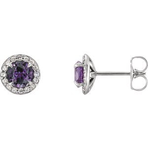 Chatham Created Alexandrite and Diamond Earrings, 14k White Gold (4MM) (.16 Ctw, G-H Color, I1 Clarity)