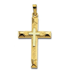 Triple Cross 14k Yellow Gold and White Gold Pendant