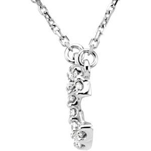 "14k White Gold Diamond Alphabet Letter C Necklace (1/6 Cttw, GH Color, l1 Clarity), 16.25"" to 18.50"""