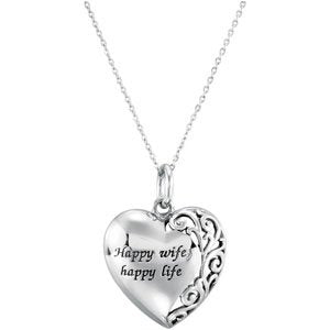 Sterling Silver Happy Wife Happy Life Heart Pendant Necklace 18""