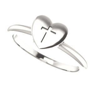 Heart with Cross Sterling Silver Slim Profile Ring, Size 8.25