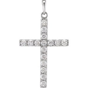 Diamond Cross Pendant, Rhodium-Plated 14k White Gold (1 Ctw, Color GH, Clarity I1)