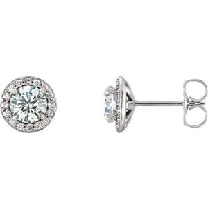 White Sapphire and Diamond Halo-Style Earrings, 14k White Gold (3.5 MM) (.125 Ctw, G-H Color, I1 Clarity)