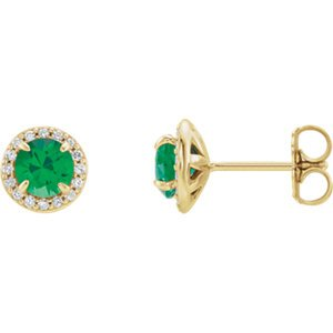 Emerald and Diamond Halo-Style Earrings, 14k Yellow Gold (4.5 MM) (.16 Ctw, G-H Color, I1 Clarity)