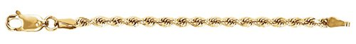 14k Yellow Gold 2.40mm Diamond-Cut Rope Extender Safety Chain, 2.25""