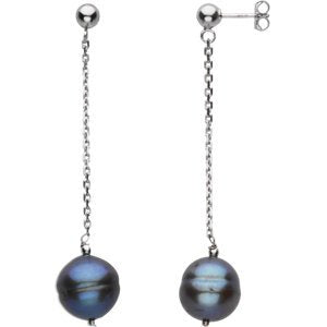 Black Cultured Freshwater Circle Pearl Earrings, Sterling Sliver (9-11 MM)