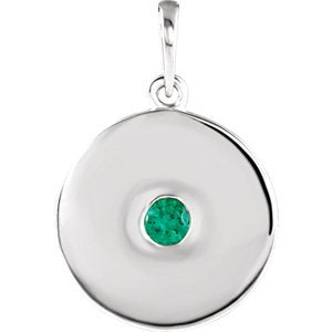 Round Emerald Disc Pendant, Rhodium-Plated 14k White Gold