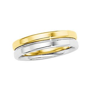 6mm 14k Yellow and White Gold Two-Tone Flat Top Grooved Comfort Fit Band, Sizes 5 to 12.5