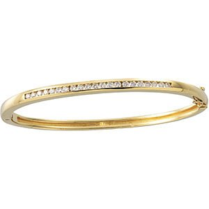 "Diamond Bangle Bracelet, 14k Yellow Gold, 6.5"" (.63 Cttw, GH Color , I1 Clarity )"