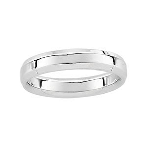 4mm 14k White Gold Comfort Fit Beveled Edge Band, Size 5.25