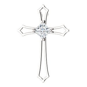 Princess Diamond Cross Rhodium-Plated 14k White Gold Pendant (.38 Ct, G-H Color, I1 Clarity)