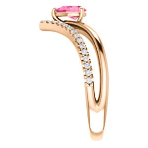 Pink Tourmaline Pear and Diamond Chevron 14k Rose Gold Ring (.145 Ctw,G-H Color, I1 Clarity)