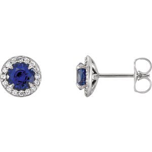 Chatham Created Blue Sapphire and Diamond Halo-Style Earrings Rhodium-Plated 14k White Gold (5MM) (.16 Ctw, G-H Color, I1 Clarity)