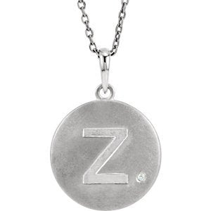 "Diamond Letter 'Z' Initial Sterling Silver Pendant Necklace, 18"" (.005 Ct, GH Color, I2 Clarity)"