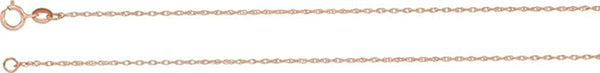 1 mm 14k Rose Gold Solid Rope Carded Chain, 16""