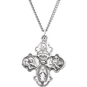 "Sterling Silver Four-Way Cross Necklace, 24"" (31x26.25 MM)"
