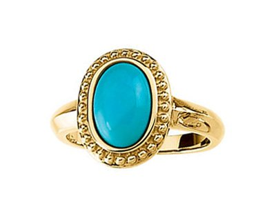 Turquoise Cabochon 1.86 Ct. Granulated Bead 14k Yellow Gold Ring, Size 5