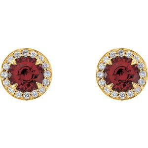 Mozambique Garnet and Diamond Halo-Style Earrings, 14k Yellow Gold (3.5MM) (.125 Ctw, G-H Color, I1 Clarity)