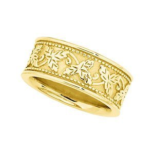 8.5mm 18k Yellow Gold Leaf Design Band, Size 8