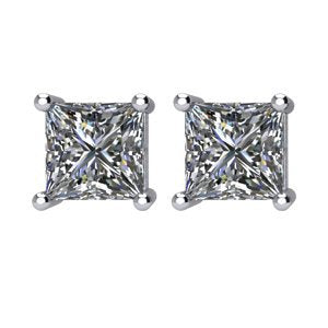 Princess-Cut Diamond Stud Earrings, Rhodium Plated 14k White Gold (2 Cttw, Color GH, Clarity I1)