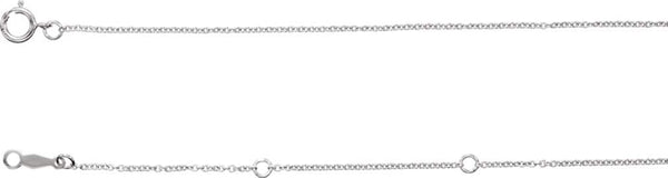 Rhodium-Plated 14k White Gold 1mm Solid Cable Chain Necklace, 16-18""